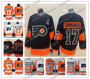 فيلادلفيا فلايرز NEW BRAND Stadium Series # 17 وين سيموندز 19 نولان باتريك 28 Giroux 53 Gostisbehere Black Orange Hockey Jersey