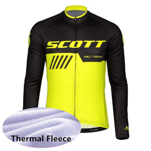 Hombres Scott Team Winter Thermal Fleece Ciclismo Jersey de manga larga Camisetas de carreras MTB Bicicleta Jersey Bike Ropa deportiva Y062702
