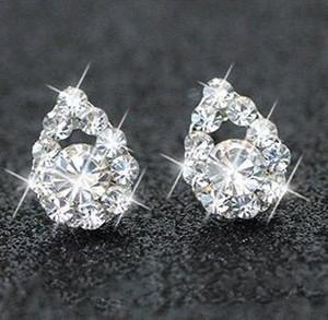 Argent plaqué strass Boucles d'oreilles diamant bijoux de mariée Boucles d'oreilles SOIRÉE Bijoux femmes Prom antiallergique Corée du Sud étoiles