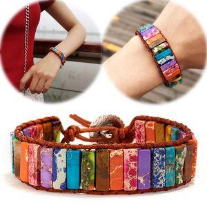 Bunte Edelstein-Entwurfs-Armband-nationale Art Wraistband Frauen Mens Top-Qualität Armband Luxus-Leder-Armband-handgemachte Armbänder 17 Farbe