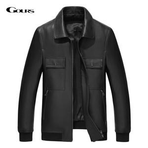Gours Inverno Jacket de couro genuíno Bomber Homens Moda Preto real carneiro Aviation Jackets Coats Motorcycle GSJF1917