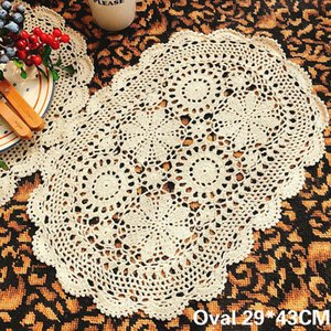 Vintage Cotton Handmade Crochet Flowers Doily Dining Mat Placemat Oval Tablecloth Wedding Banquet Decor Mantel Individual Pad T200703