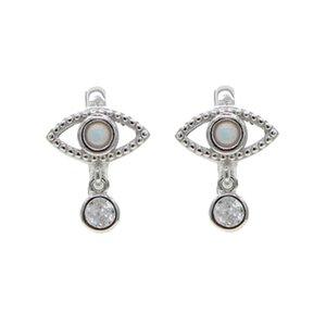 Luxo Opal Hoop CZ Brinco For Women 925 prata Mini Evil Eye Cartilagem Hoop Brincos Mulheres balançar jóias de opala presente