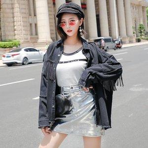Moda 2019 Spring Street Fashion Giacca di jeans di alta Designer Logoro Burr nappa Giacca di jeans donne Onesize allentato Nero Cappotto