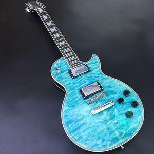 2019-High Quality LP Guitar Guitar، Solid Mahogany Body، Blue Paint with Waves، Chrome Chrome Plating Hardware، التوصيل المجاني