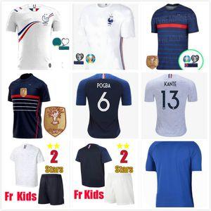 19 20 21 Zwei Sterne 2 Griezmann Mbappe Kinder Frankreich Fußball-Jersey Boys Kind Pogba kurze Ärmel Fußballhemd maillot de foot 2019 Trikot