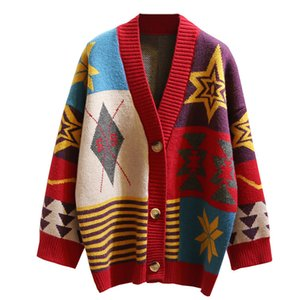 Colorful Star Geometry Print Knitted Cardigan Women Casual Single Breasted Jumper 2019 Autumn Winter Oversize Sweater Tops Femme T190907