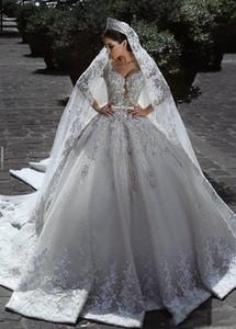 Vintage de lujo vestido de bola de manga larga de encaje africano más el tamaño vestido de boda musulmán con cuentas velo playa Zuhair Murad vestidos de novia H027