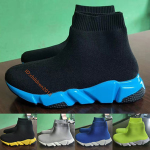 Luxury Paris Speed Trainer Kids Sneakers High Quality Toddler Sock Shoes Black Blue Wolf Grey Boys Girls Outdoor Casual Shoes Size 24-35
