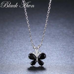 [BLACK AWN] 925 Sterlingsilber-Halskette für Frauen-elegante Halsketten-Anhänger Natur Schmetterlings-Schmucksachen K016
