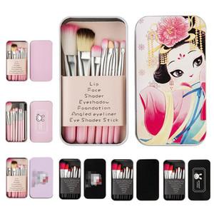 Conjunto de cepillos de maquillaje de alta calidad con bolsa de dibujos animados de 7 piezas herramientas de maquillaje de hojalata de lavado Limpiador de soporte de cepillo