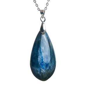 Genuine Natural Kyanite Pendant Deep Blue Gemstone cristal Pedra Natural Pingente Homem Mulher Colar do olho de gato 36x18x8mm