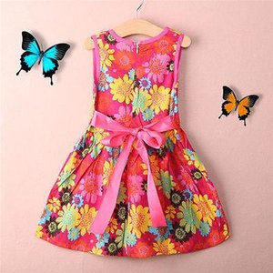 New Summer Kids Clothes Floral Bow 100% Cotton Child Party Princess Tank Girl Dress Sundress