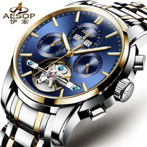 AESOP Мужские часы Top Brand Luxury автоматические механические часы Мужчины из нержавеющей стали Tourbillon Часы Мужские Relogio Мужчина для