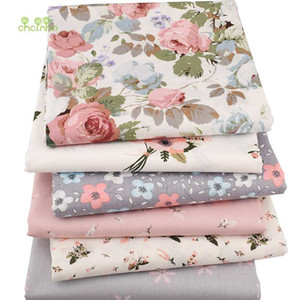 Chainho, 6pcs / lot New Floral Series Twill Cotton Frick, Patchwork Cloth, DIY Sewing Fat Quilting Fat Quarters Material For BabyChild