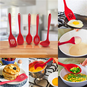 Nouveau Design 5 Pièces Set Ustensile De Cuisine Spatule, Cuillère, Louche, Spaghetti Server, Turner Fendue. Outils De Cuisine, Ustensiles De Cuisine En Silicone