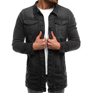 Otoño invierno de manga larga capa de la chaqueta de los hombres HaiFux básico' vintage apenada Demin tapa de la chaqueta rompevientos Outwear