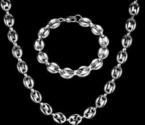 Enorme 11mm de ancho 60cm + 22cm pesada para hombre fresca de las habas de acero inoxidable de plata brillante de café cadena de acoplamiento del sistema del collar + pulsera de la joyería