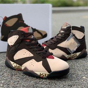 Whit Box Best Patta Basketball Shoes 7s OG SP Shimmer Tough Red Velvet Brown AT3375-200 Upper Outdoor Athletic Sports Sneaker
