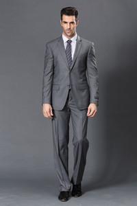 Popular Two Buttons Groomsmen Notch Lapel Groom Tuxedos Groomsmen Best Man Suit Mens Wedding Suits Bridegroom (Jacket+Pants+Tie) B240