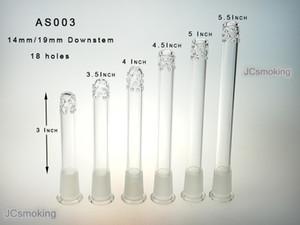 Glas downstem 19mm / 14mm Rauchen Zubehör Hersteller downstem Diffusor mit 18 Löchern freier Versand AS003