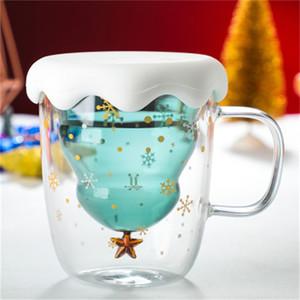 Taza de la Navidad árbol de la estrella Lovely Cup Double Deck taza de cristal transparente tazas de agua Café hogar y la oficina del estilo popular 23af H1