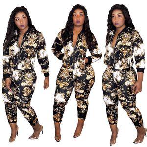 Весна Осень Женщины Two Piece Set Top Zip и брюки цифровой печати с длинным рукавом тощий Tracksuit Sporty Casual Wear Женщины Эпикировка NB-1323