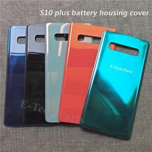 Samsung Galaxy S10 S10E S10 Artı Arka Pil Kapağı Kapı Arka Cam Konut Case + yapışkan Yedek Shell 10 Ad için Orjinal Arka Cam