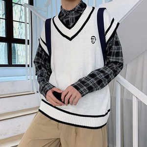 INS Autumn Vest Pullover Men's Korean-Style V-neck Sleeveless Sweater Vest Fashion Hong Kong Style College Style Waistcoat