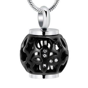 IJD9959 Nouveau design Noir cool Hommes Crémation Collier lanterne forme en acier inoxydable Ash Urn Collier