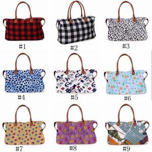17 inch plaid Duffel Bag High-capacity camouflage Travel Tote Leopard print handbag Double Handles Outdoor Sport Bag ZZA1011