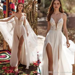 2020 Praia Nova Boho vestidos de casamento com o envoltório Coxa alta Slits Lace Top Backless Vestidos de casamento vestido de noiva Vestido de noiva