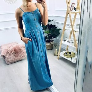 2020 Fashion Women Summer Sexy Spaghetti Strap Solid Casual Retro Washed Single Breasted Buttons Denim High Street Maxi Dress