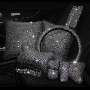 Bling Strass Strass Auto di cristallo Accessori per interni Diamond Volante Cover Collo cuscini per la vita Aspetto Handbrake Shift Set