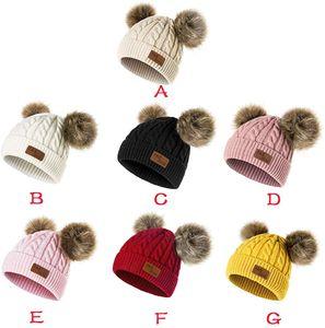 Bebek Yürüyor Beanie Yün Şapka Saf Renk Kış çevirin Çift Pom Yün 0-3 Yaş ve Cap Örme