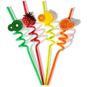 Eco-Friendly Moda Multicolour Padrão fruta dos desenhos animados bonito Beba 30pcs palha / Lot projeto aleatório
