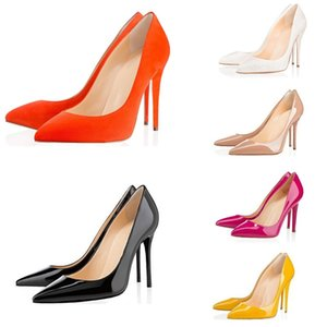 2019 New ACE luxury designer women shoes red bottom high heels 8cm 10cm 12cm Nude black red Leather Pointed T Toes Pumps Dress shoes