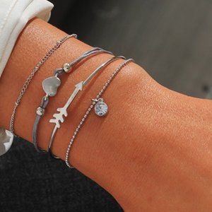 4pcs / set Bohemian Heart Bead Rope Breadel Bracel Bailles For Women Heart Crystal Arrow Silver Color Beads