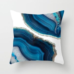 Blue Pillow Cover Blue Throw Pillows Navy Cushion Cover Abstract Printing Decoration With Sofa Office Decor Houses