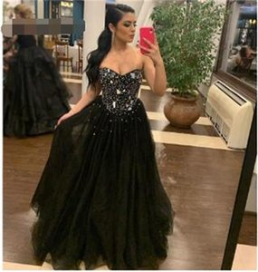 Black A Line Tulle Prom Dresses Long Evening Gowns Sweetheart off Shoulder Sexy Backless Beading Formal Lady Party Dresses Wear Gala