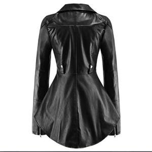 Women PU Jackets Casual Gothic Black Plus Size Punk Slim Lapel Zipper Solid Coats Office Lady Female Fashion Tops Goth Overcoats