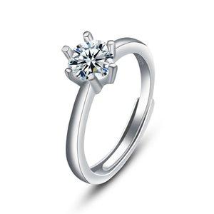 Classic Six Claw Love Ring Platina Color Austria Crystal Diamond Design Wedding Ring Luxury Designer Jewelry Women Rings