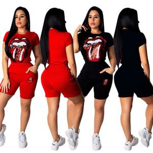 Dos jugadas preparadas supremr chándales Casual Rhinestone 2 PC sets Club de traje Mujeres top + pantalones de moda de manga larga para mujer del chándal CNY2050