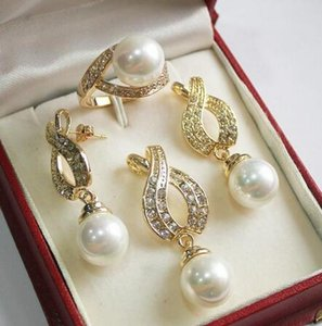 Lovely Women's Wedding Jewelry Hot! perfect match new jewelry 18KGP + 12mm white shell pearl pendant, earring, , ring set