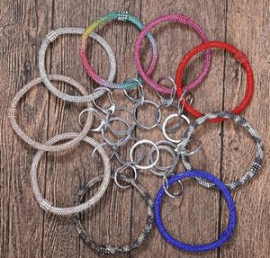 8styles Silicone Diamond Bracelets Women Wrist Key Ring Wristband Chains Circle Wristlet Car Keychains Wrist Strap Jewelry GGA3224