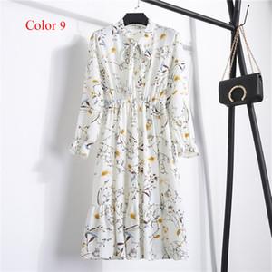 Chiffon High Elastic Waist Spring Summer Dress Bow A-line Women Full Sleeve Flower Print Floral Bohemian Dresses Slim Feminino