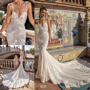 Berta Mermaid Wedding Dresses Spaghetti Lace Applique Sweep Train Backless Beach Wedding Gowns Rhinestone Sash Boho Bridal Dress 4421