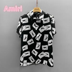 الولايات المتحدة بأكمام قصيرة مصمم أزياء عالية في الشارع قميص المد AMIRI الأميري قصيرة الأكمام قميص AMIRI البوكر قميص طباعة الأقمشة الحرير الخالص