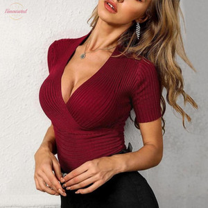 Women Ol Kintted T Shirts Deep V Neck Long Sleeve Tops Clubwear Slim Fit V Neck Button Down Tops Bodycon Sexy Club