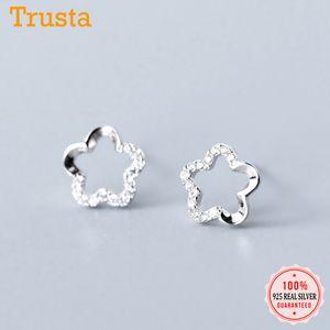 Trustdavis Genuine 100% 925 Sterling Silver doce Dazzling oco Flor CZ brincos para mulheres casamento jóias presente DS2186
